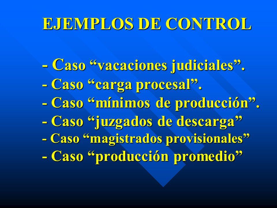EJEMPLOS DE CONTROL - Caso vacaciones judiciales