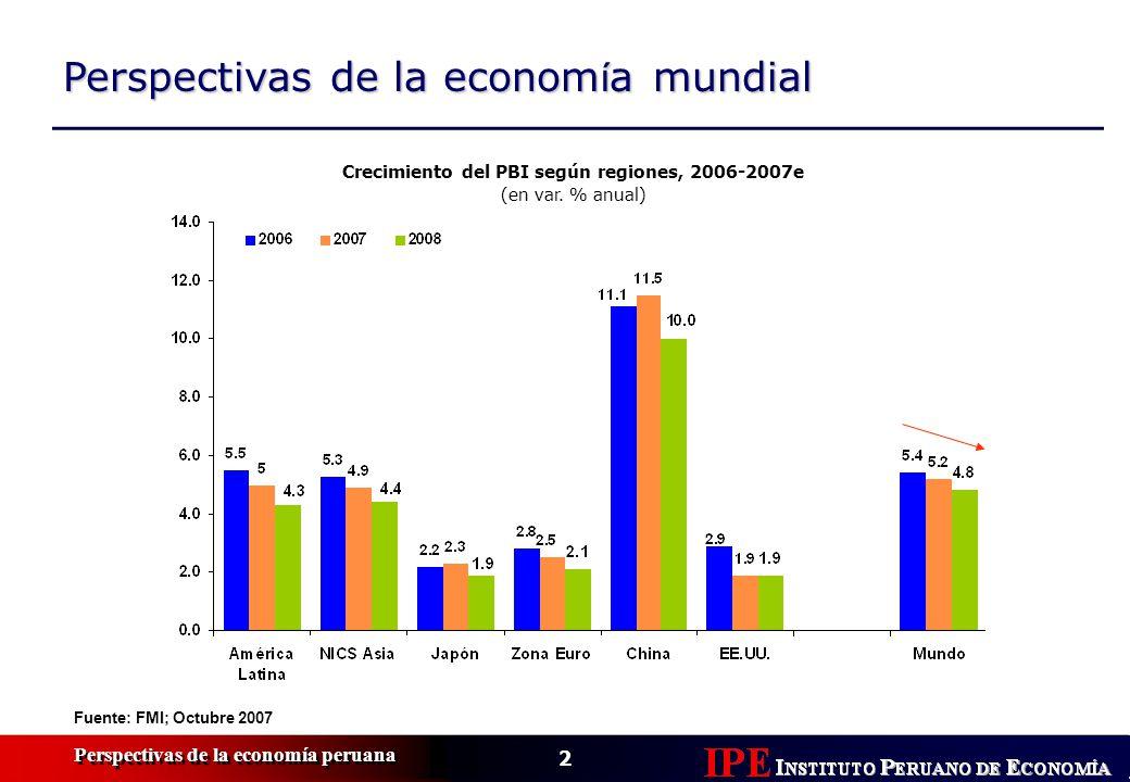Crecimiento del PBI según regiones, 2006-2007e