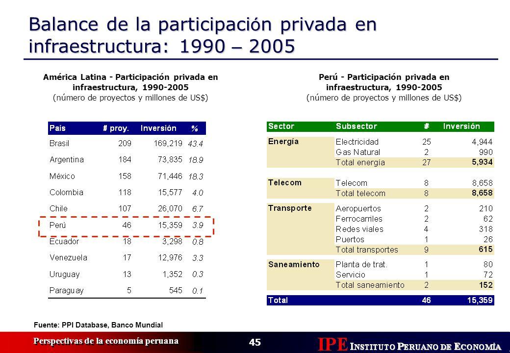 Balance de la participación privada en infraestructura: 1990 – 2005