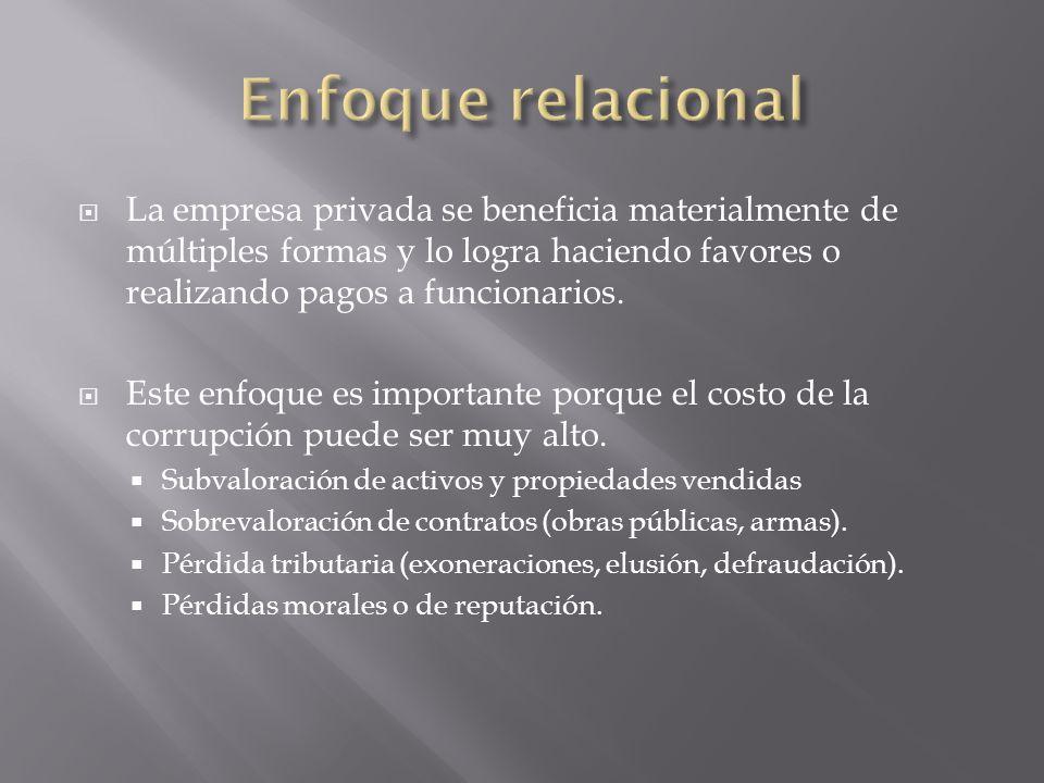 Enfoque relacional La empresa privada se beneficia materialmente de múltiples formas y lo logra haciendo favores o realizando pagos a funcionarios.