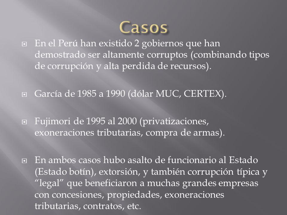 Casos En el Perú han existido 2 gobiernos que han demostrado ser altamente corruptos (combinando tipos de corrupción y alta perdida de recursos).
