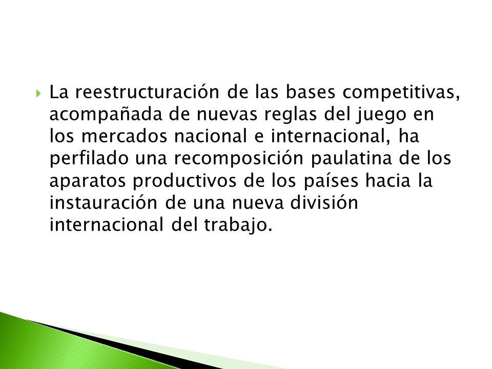 La reestructuración de las bases competitivas, acompañada de nuevas reglas del juego en los mercados nacional e internacional, ha perfilado una recomposición paulatina de los aparatos productivos de los países hacia la instauración de una nueva división internacional del trabajo.