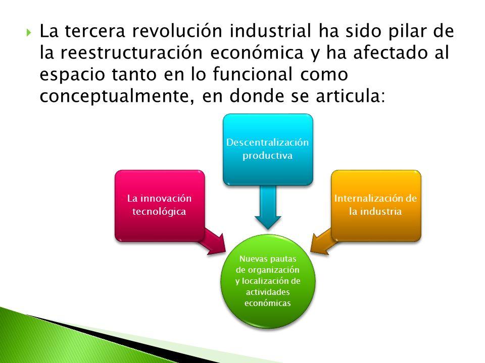 La tercera revolución industrial ha sido pilar de la reestructuración económica y ha afectado al espacio tanto en lo funcional como conceptualmente, en donde se articula: