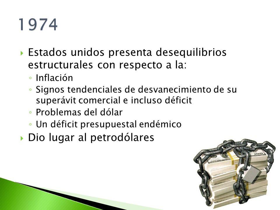 1974 Estados unidos presenta desequilibrios estructurales con respecto a la: Inflación.
