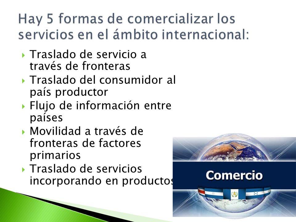 Hay 5 formas de comercializar los servicios en el ámbito internacional: