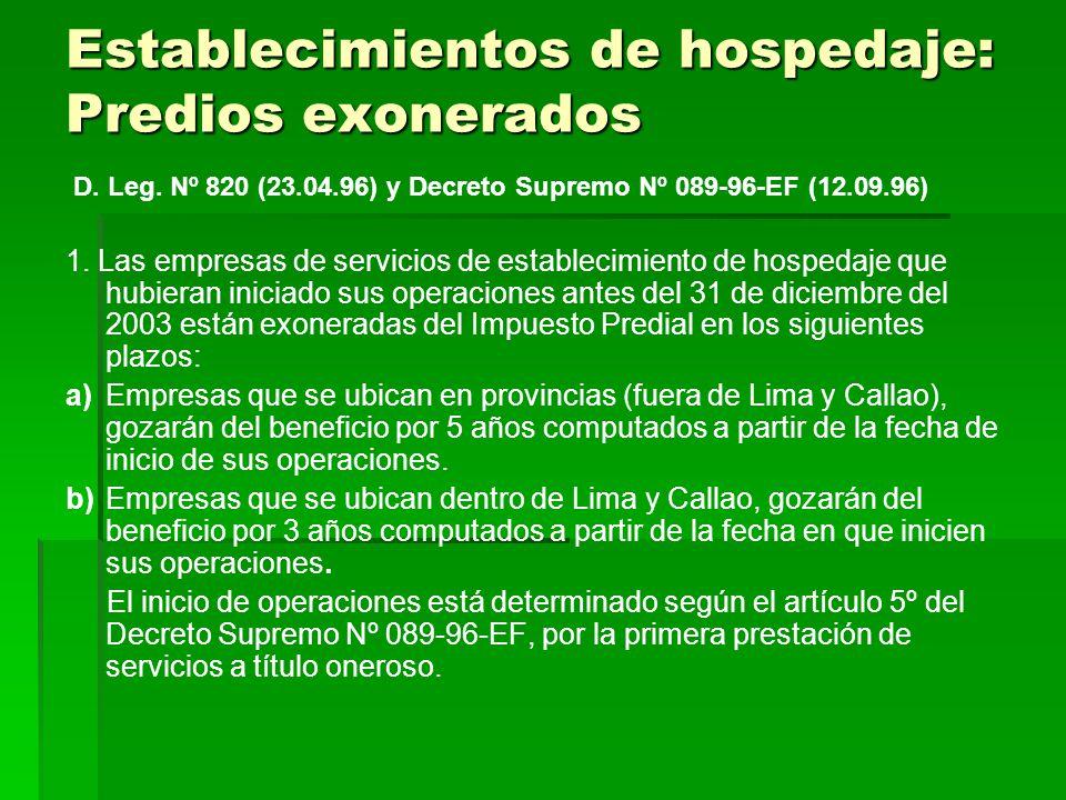 Establecimientos de hospedaje: Predios exonerados