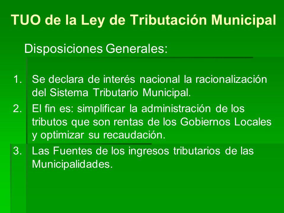 TUO de la Ley de Tributación Municipal