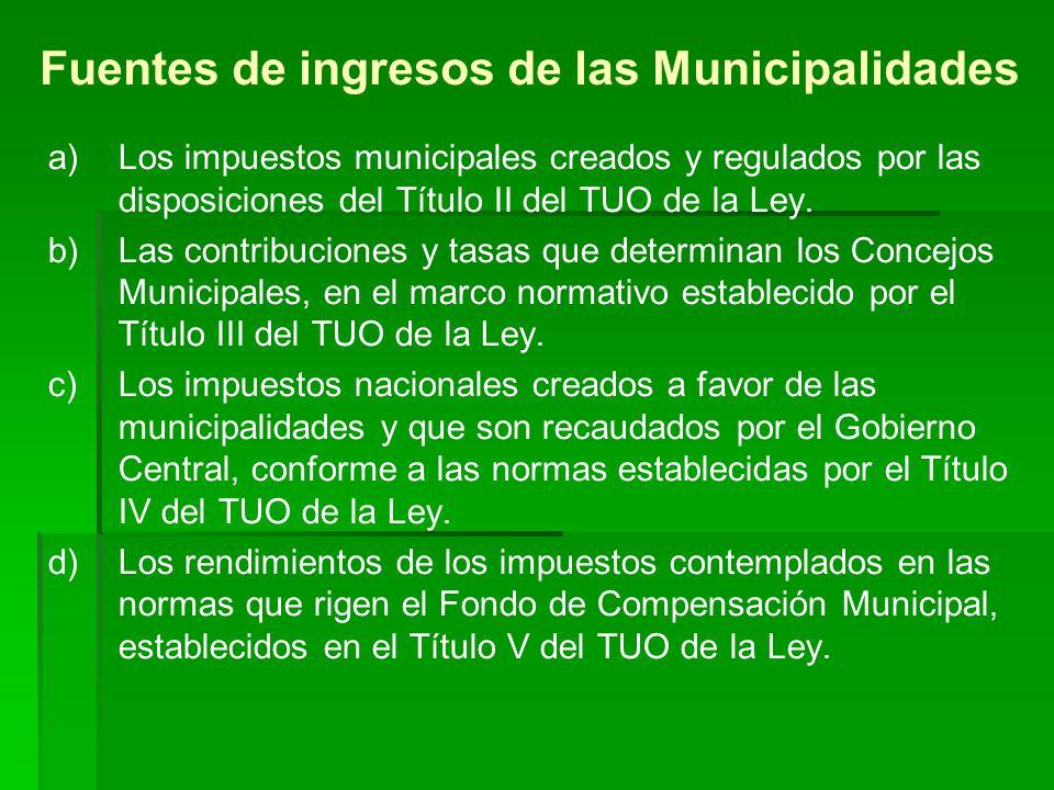 Fuentes de ingresos de las Municipalidades