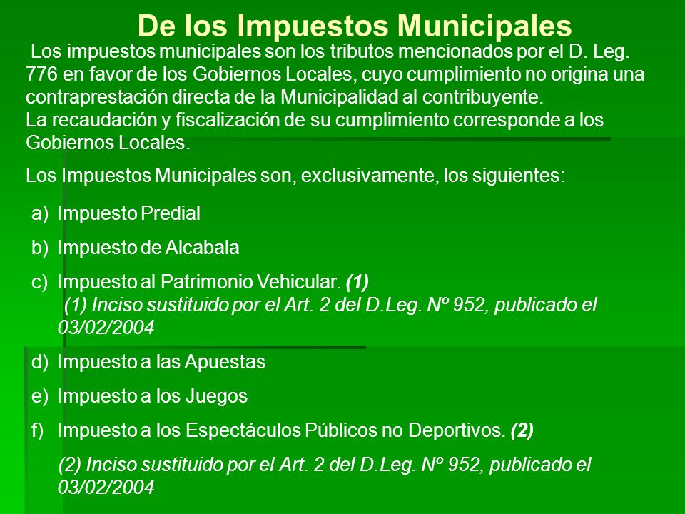 De los Impuestos Municipales