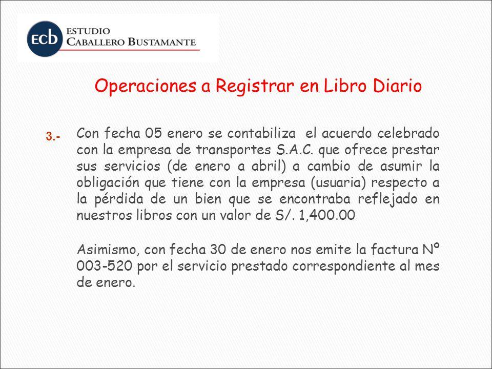 Operaciones a Registrar en Libro Diario