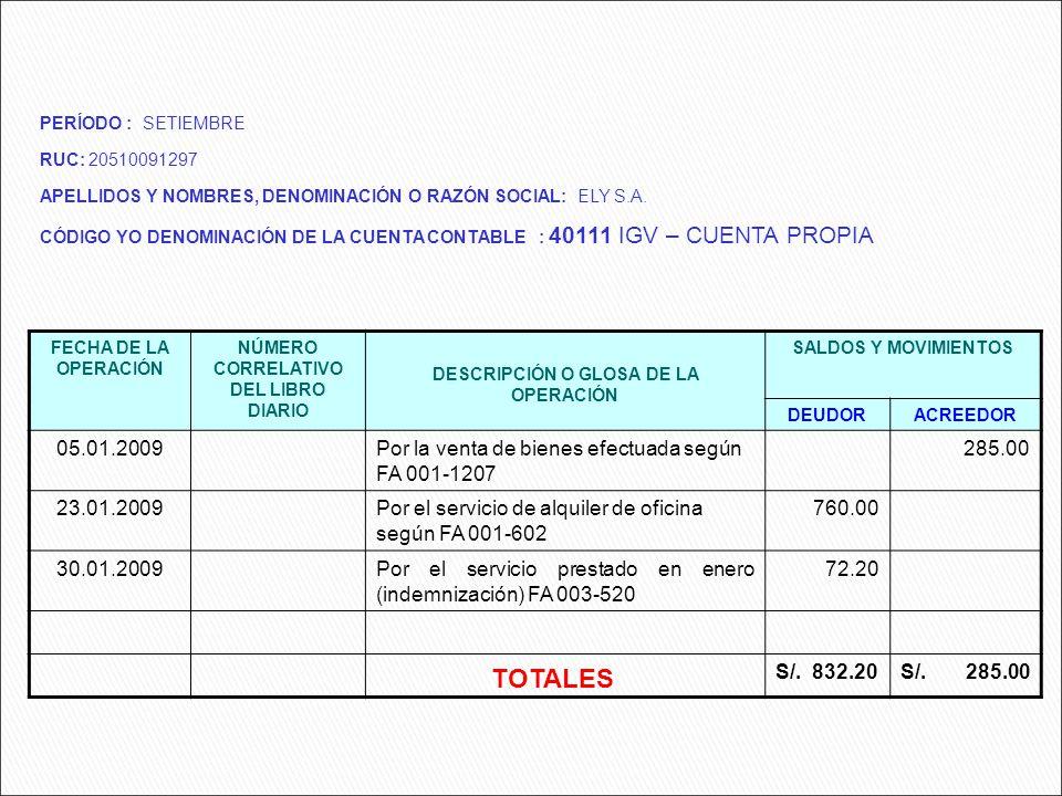 TOTALES 05.01.2009 Por la venta de bienes efectuada según FA 001-1207