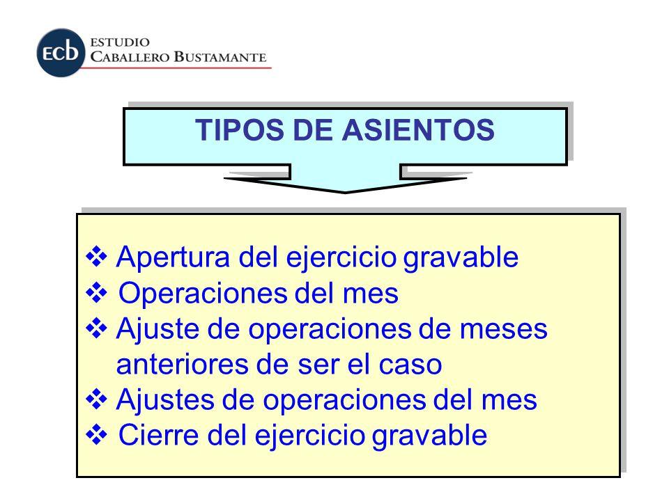 TIPOS DE ASIENTOS Apertura del ejercicio gravable. Operaciones del mes. Ajuste de operaciones de meses.
