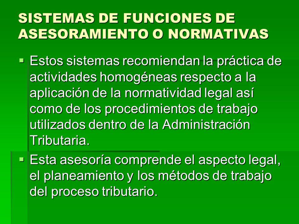 SISTEMAS DE FUNCIONES DE ASESORAMIENTO O NORMATIVAS