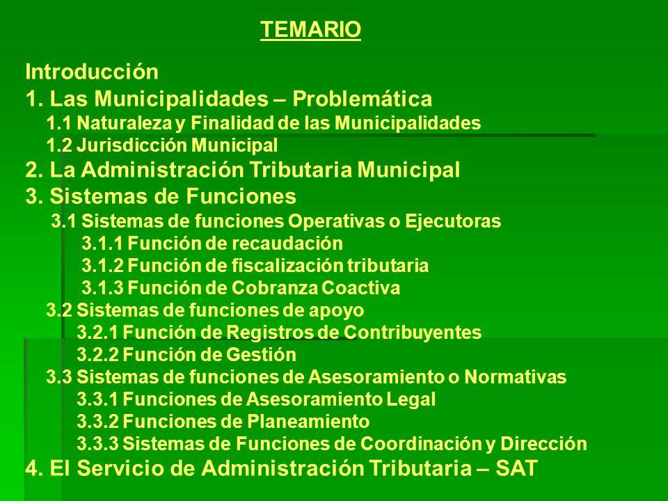 1. Las Municipalidades – Problemática