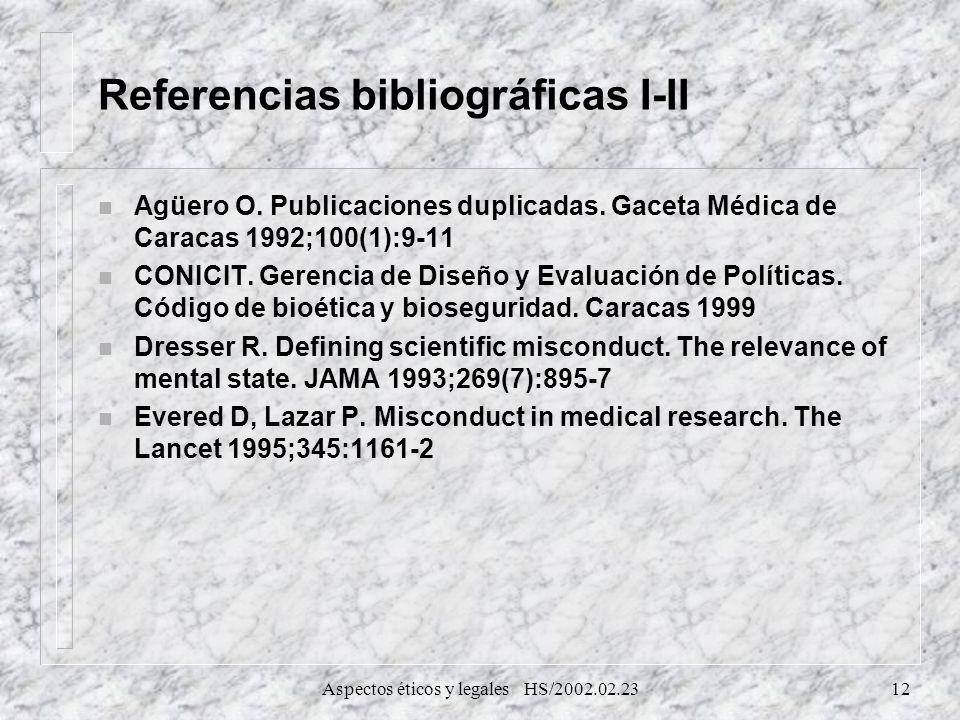 Referencias bibliográficas I-II