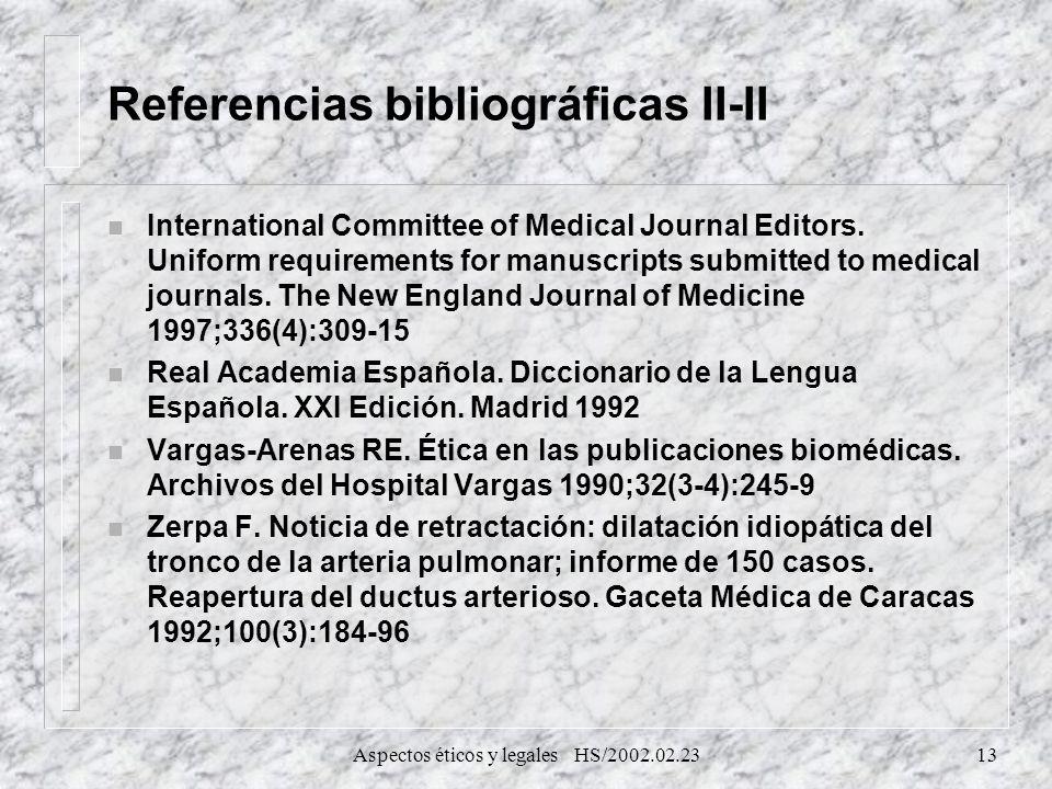Referencias bibliográficas II-II