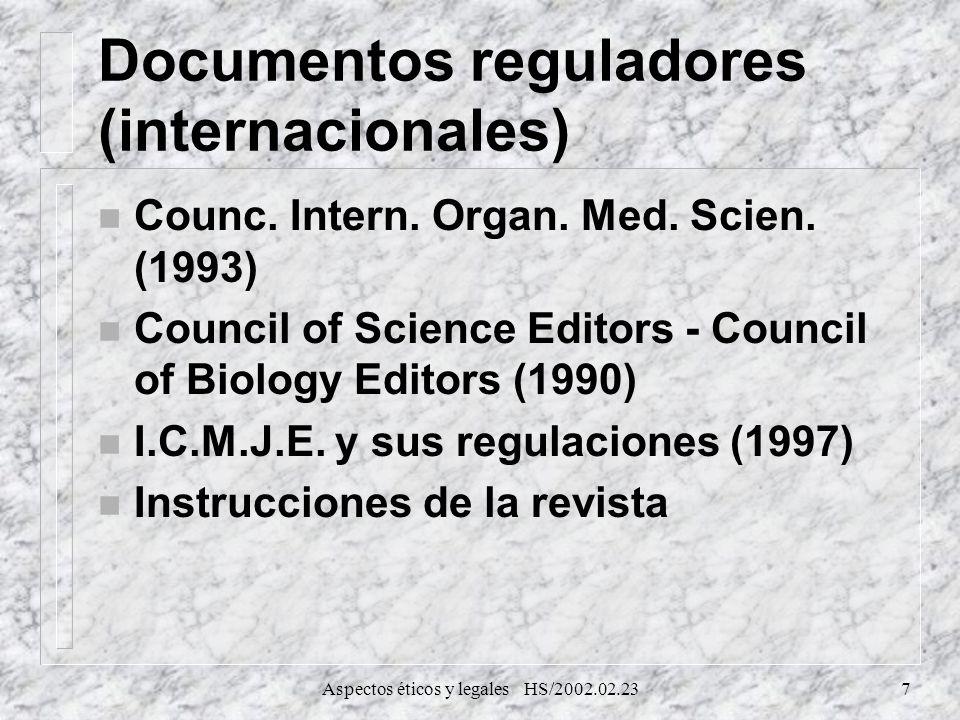 Documentos reguladores (internacionales)