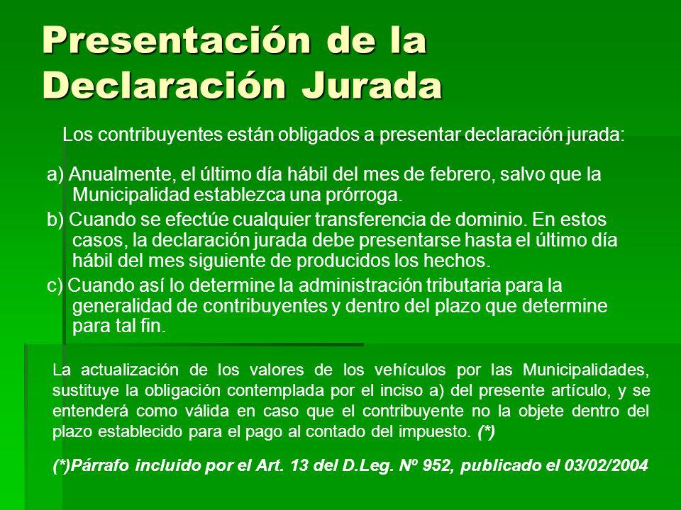 Presentación de la Declaración Jurada