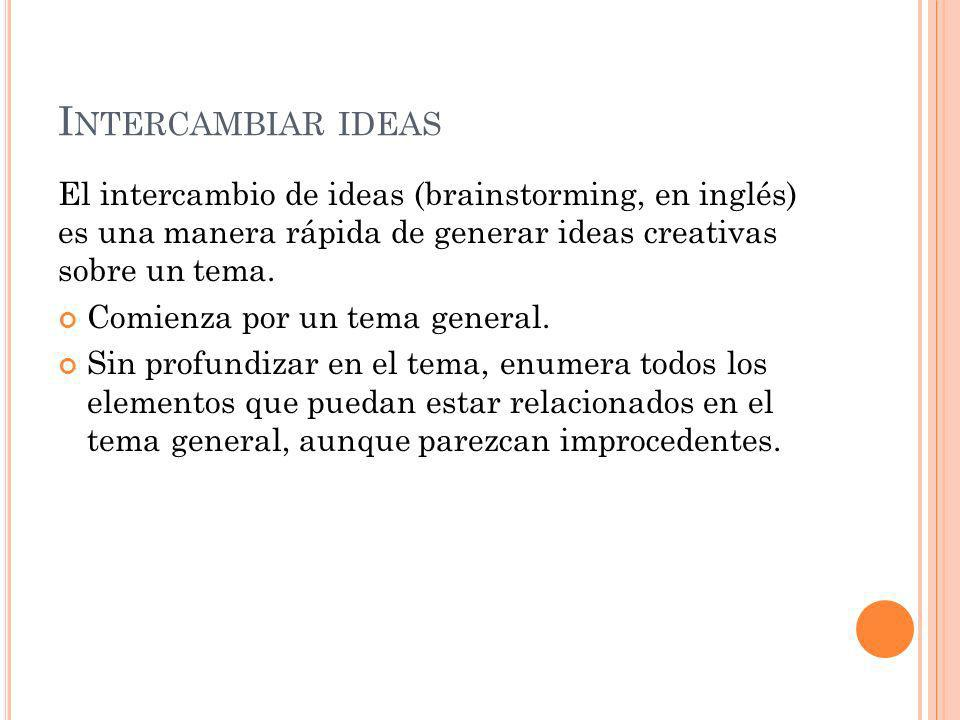 Intercambiar ideas El intercambio de ideas (brainstorming, en inglés) es una manera rápida de generar ideas creativas sobre un tema.