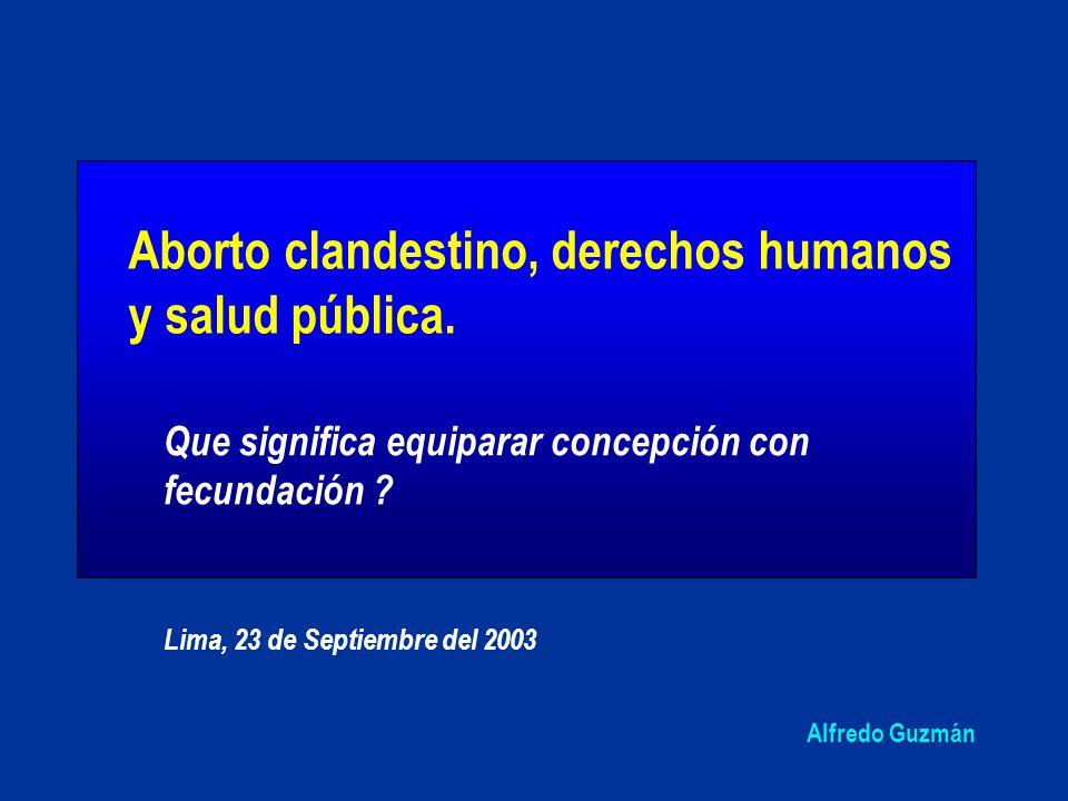 Aborto clandestino, derechos humanos y salud pública.