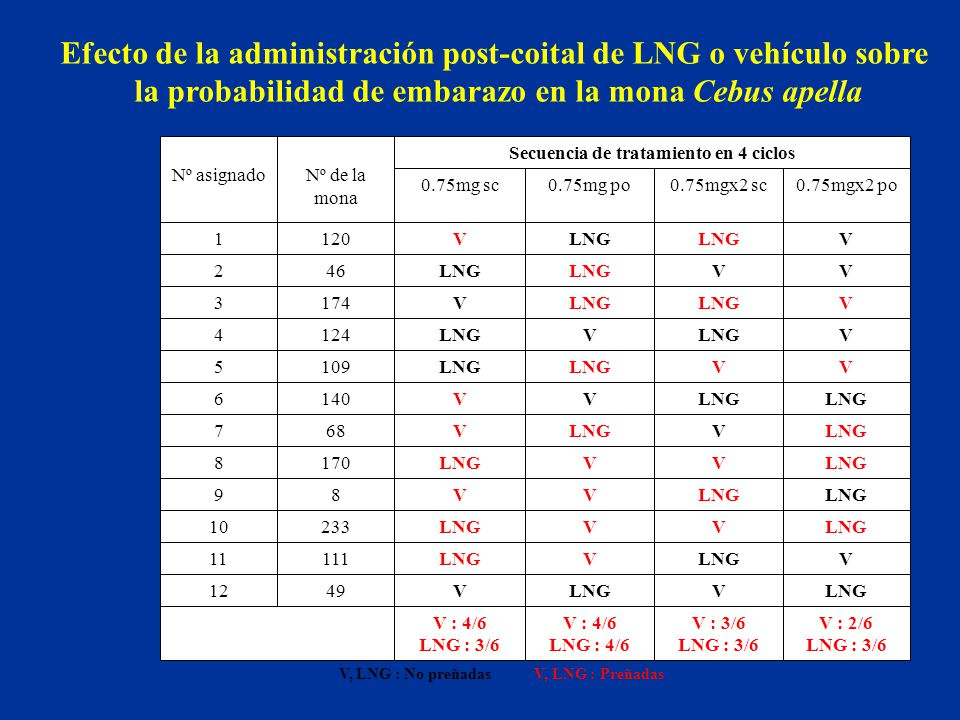 Efecto de la administración post-coital de LNG o vehículo sobre