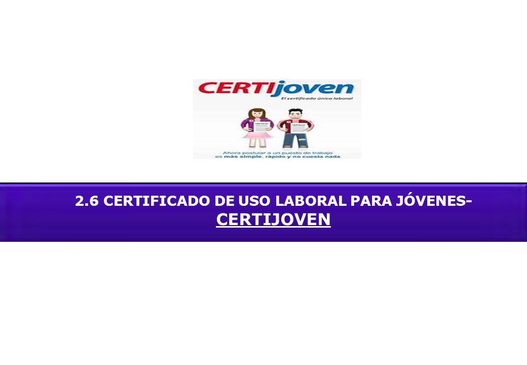 2.6 CERTIFICADO DE USO LABORAL PARA JÓVENES- CERTIJOVEN