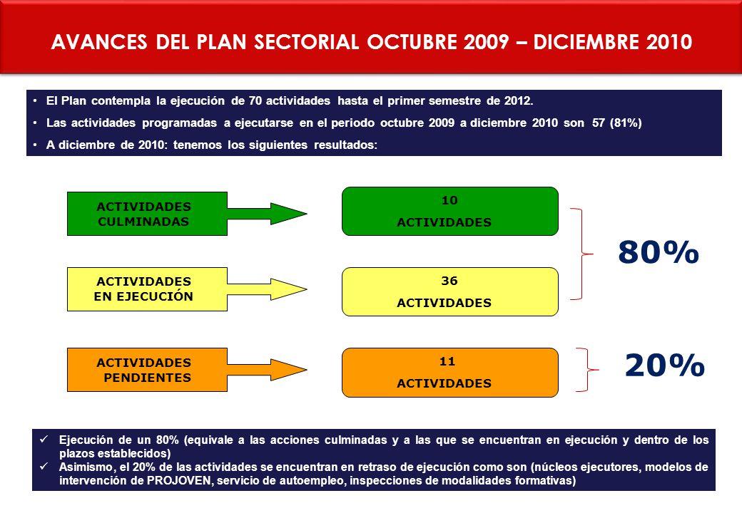 AVANCES DEL PLAN SECTORIAL OCTUBRE 2009 – DICIEMBRE 2010