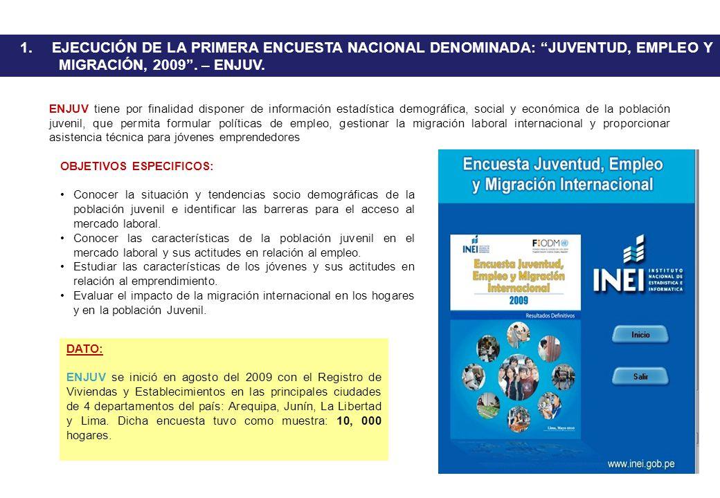 1. EJECUCIÓN DE LA PRIMERA ENCUESTA NACIONAL DENOMINADA: JUVENTUD, EMPLEO Y MIGRACIÓN, 2009 . – ENJUV.