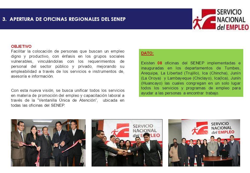 3. APERTURA DE OFICINAS REGIONALES DEL SENEP