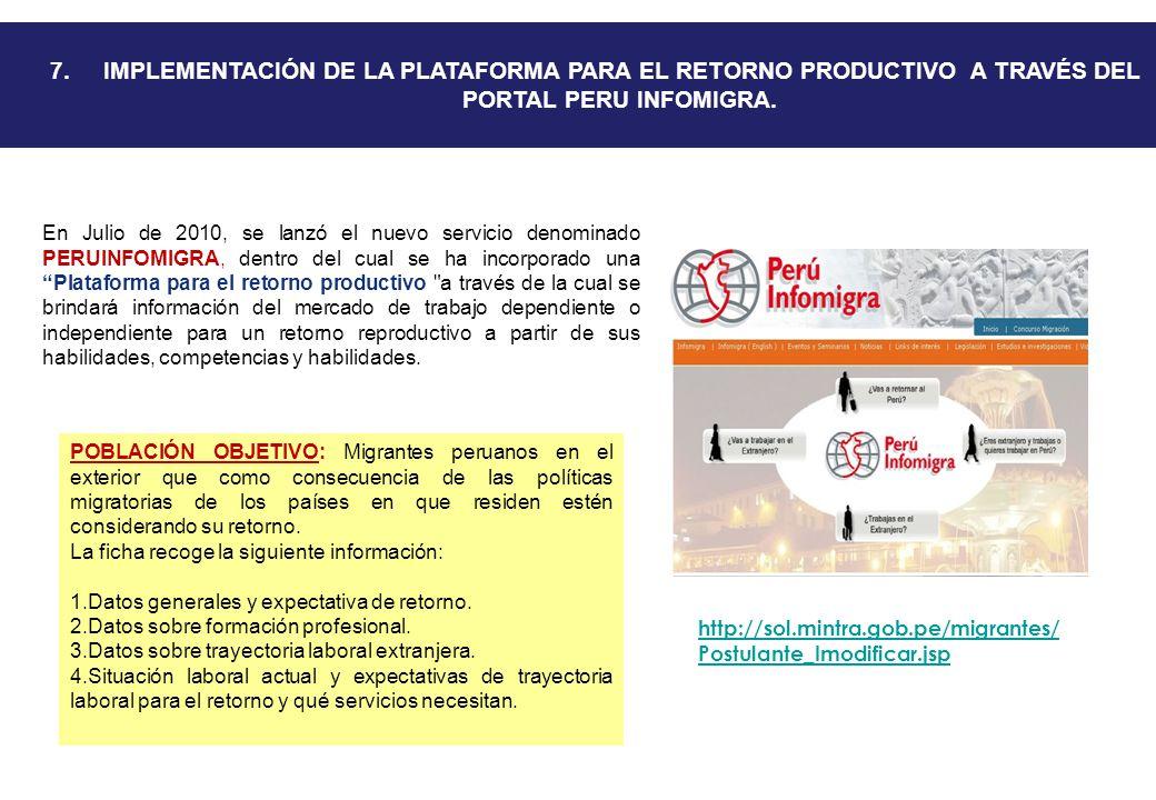 7. IMPLEMENTACIÓN DE LA PLATAFORMA PARA EL RETORNO PRODUCTIVO A TRAVÉS DEL PORTAL PERU INFOMIGRA.