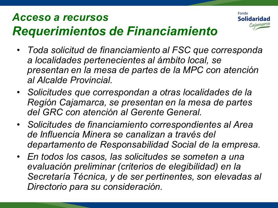 Acceso a recursos Requerimientos de Financiamiento