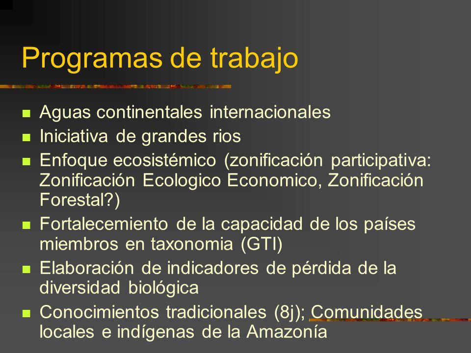 Programas de trabajo Aguas continentales internacionales