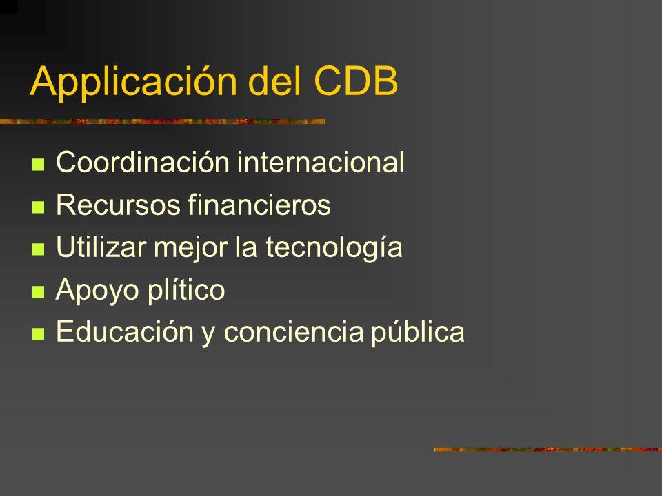 Applicación del CDB Coordinación internacional Recursos financieros