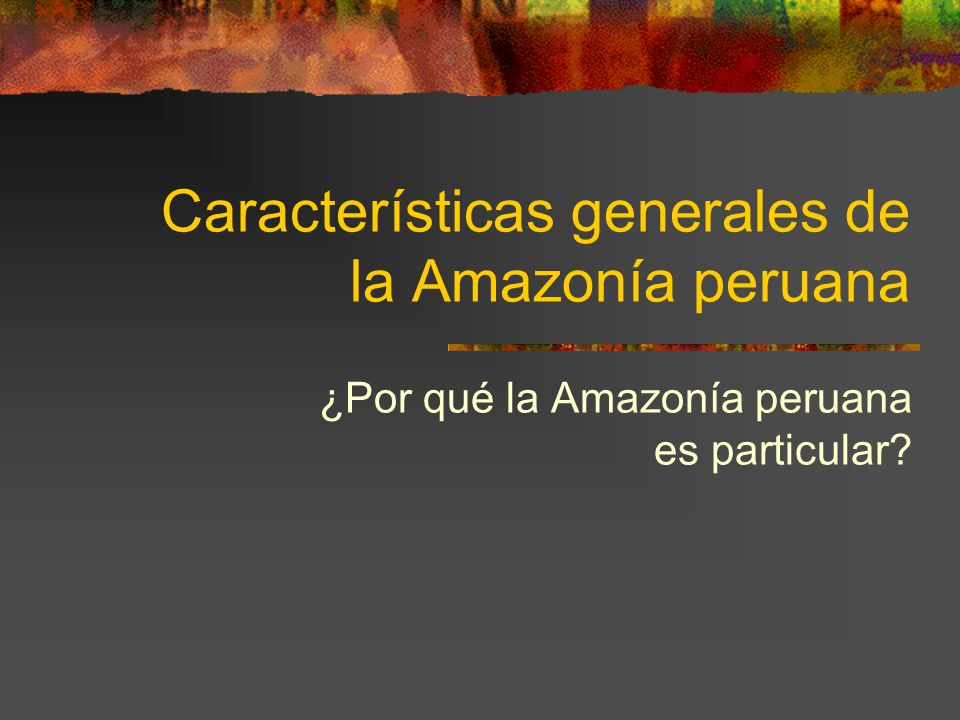 Características generales de la Amazonía peruana