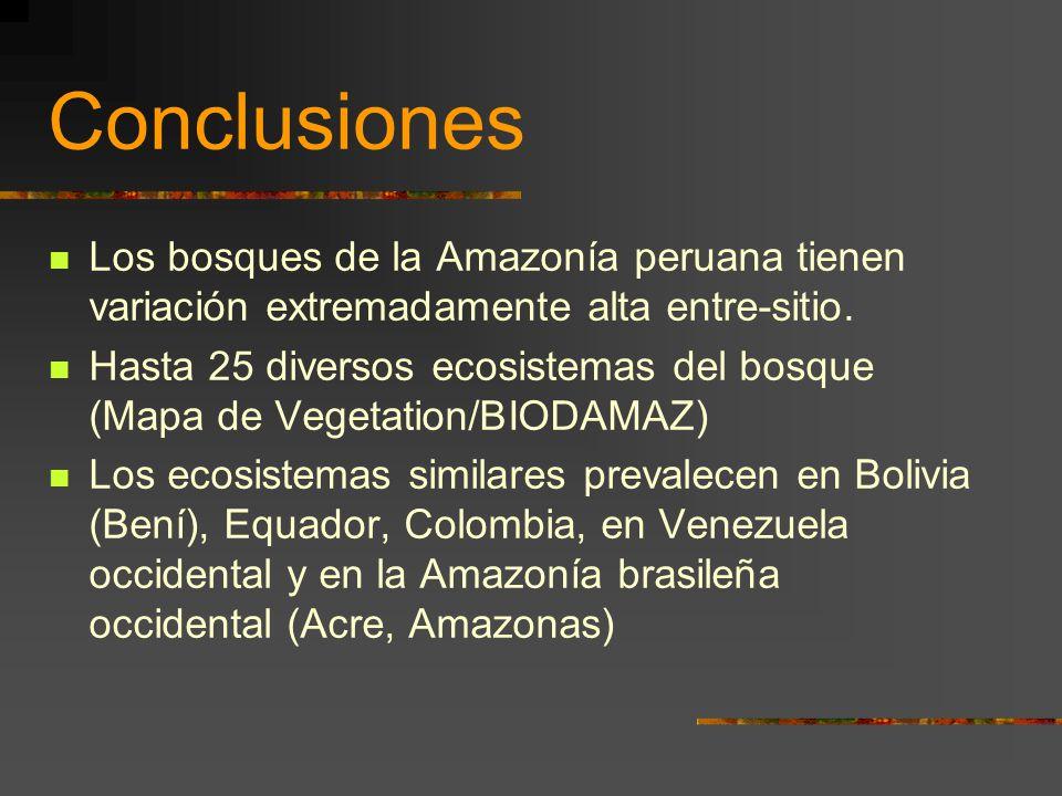 Conclusiones Los bosques de la Amazonía peruana tienen variación extremadamente alta entre-sitio.