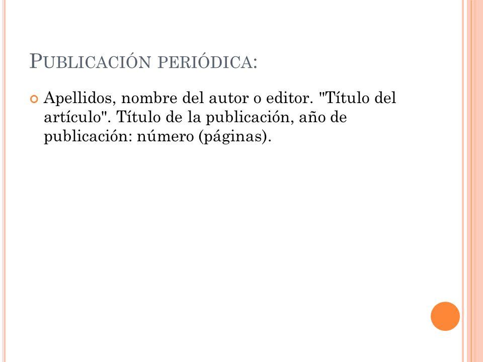 Publicación periódica: