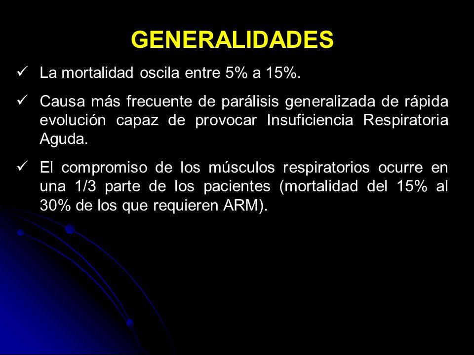 GENERALIDADES La mortalidad oscila entre 5% a 15%.