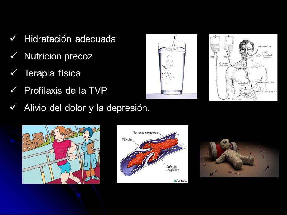 Hidratación adecuada Nutrición precoz. Terapia física.