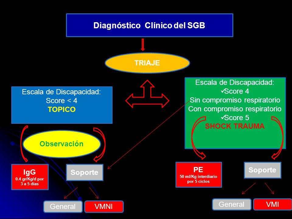 Diagnóstico Clínico del SGB 50 ml/Kg interdiario por 5 ciclos
