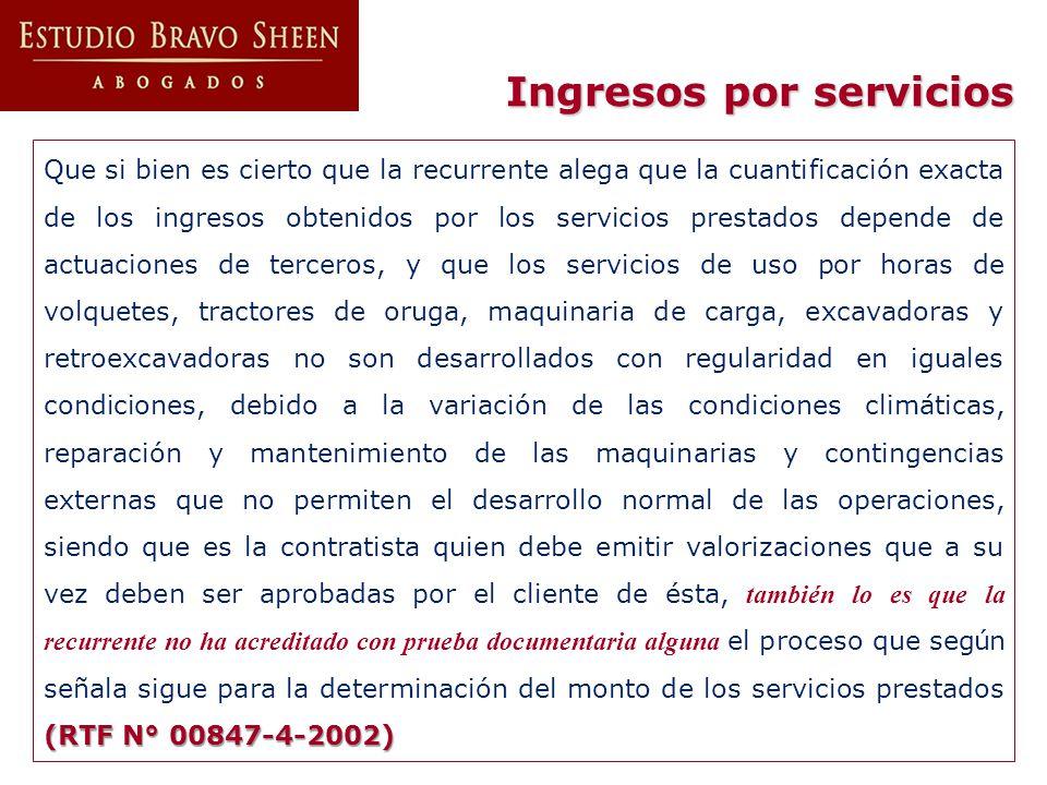 Ingresos por servicios