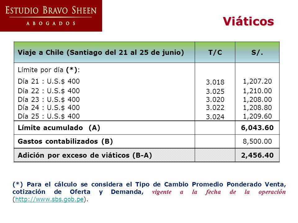 Viáticos Viaje a Chile (Santiago del 21 al 25 de junio) T/C S/.