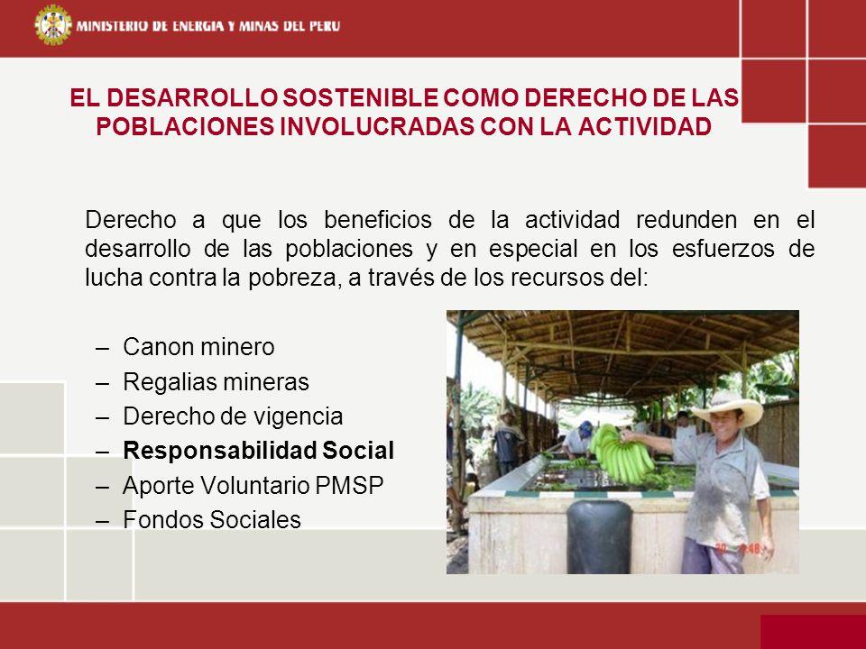 EL DESARROLLO SOSTENIBLE COMO DERECHO DE LAS POBLACIONES INVOLUCRADAS CON LA ACTIVIDAD