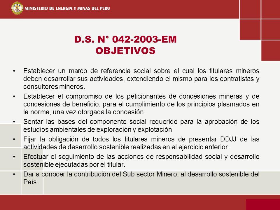 D.S. N° 042-2003-EM OBJETIVOS