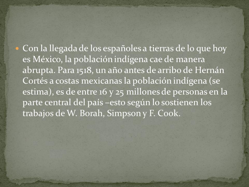Con la llegada de los españoles a tierras de lo que hoy es México, la población indígena cae de manera abrupta.