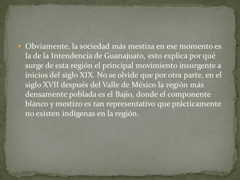 Obviamente, la sociedad más mestiza en ese momento es la de la Intendencia de Guanajuato, esto explica por qué surge de esta región el principal movimiento insurgente a inicios del siglo XIX.