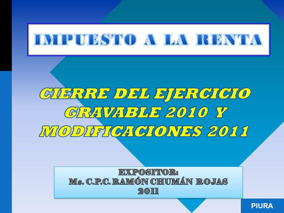 CIERRE DEL EJERCICIO GRAVABLE 2010 Y MODIFICACIONES 2011