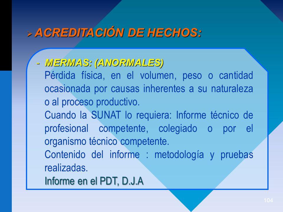 ACREDITACIÓN DE HECHOS: