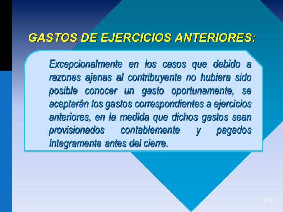 GASTOS DE EJERCICIOS ANTERIORES: