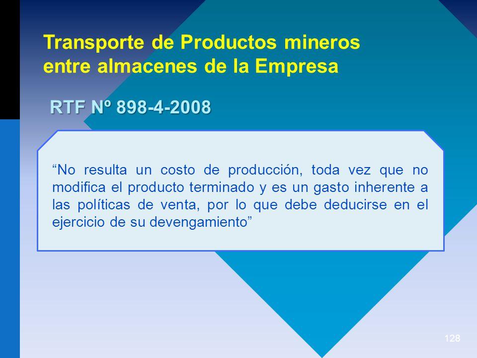 Transporte de Productos mineros entre almacenes de la Empresa