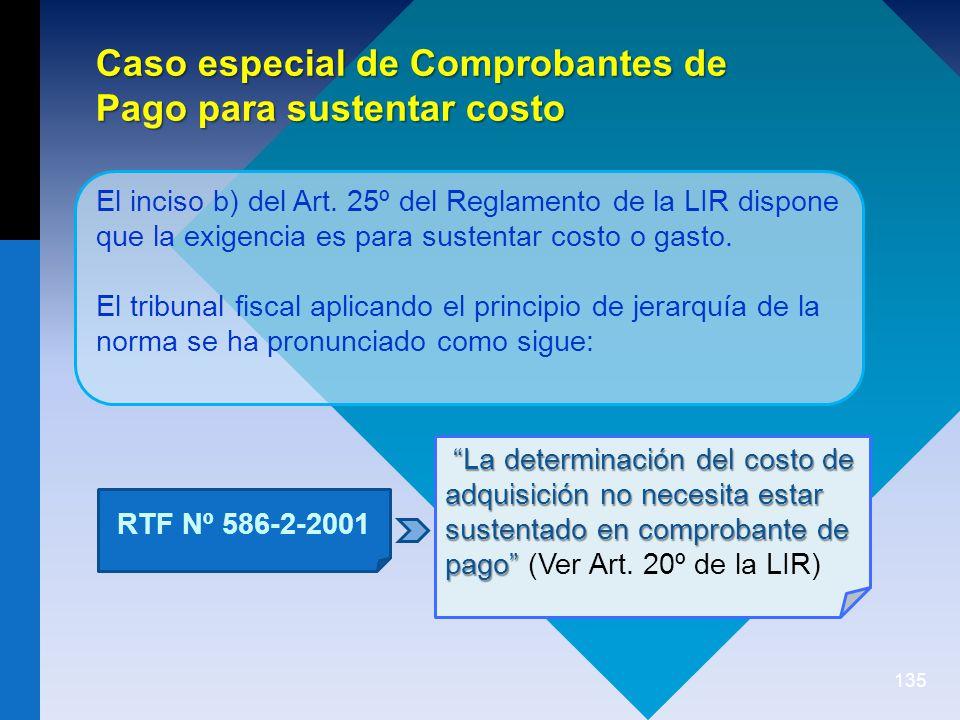 Caso especial de Comprobantes de Pago para sustentar costo